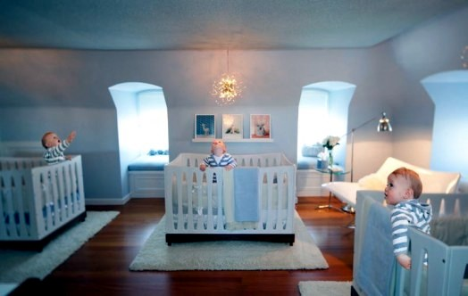 Precious baby room interiors for triplets provides style and elegance