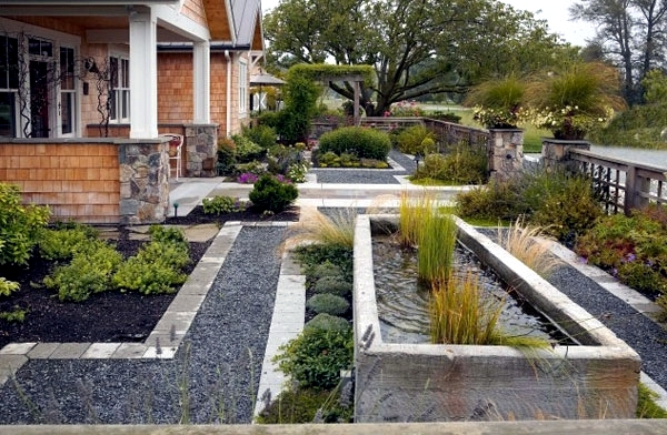 Pond garden design geometric garden with a pond landriana garden ...