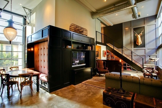 Retro interior design with industrial touch in a chic la for Apartment design retro