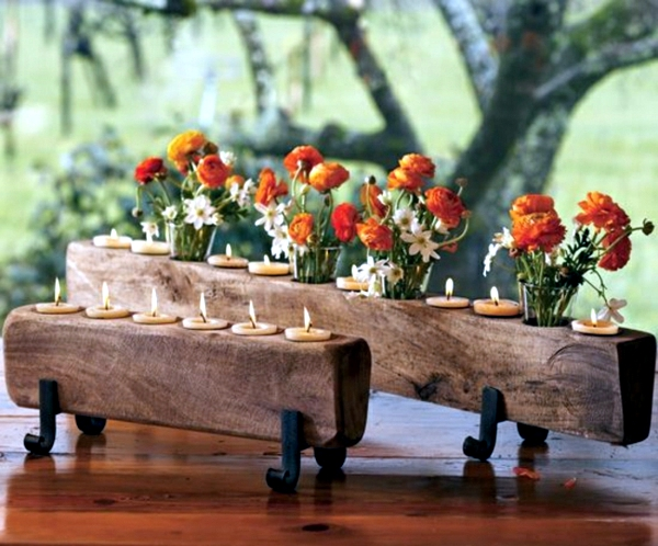 Rustic Autumn table decoration – wooden box with fruit and ...