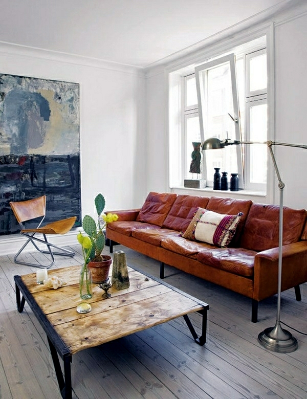 Rustic decorating ideas for a living room in country style