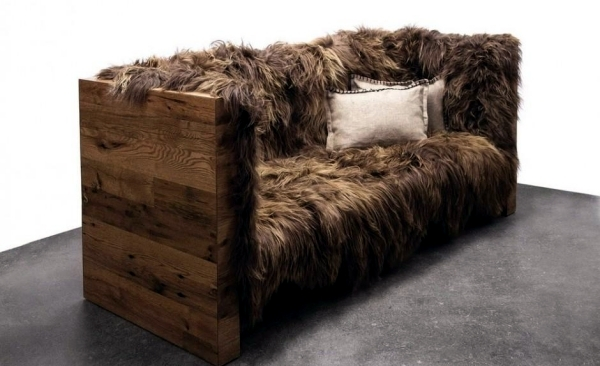 Rustic Design Sofa With Sheepskin Coating Of Sentient Furniture