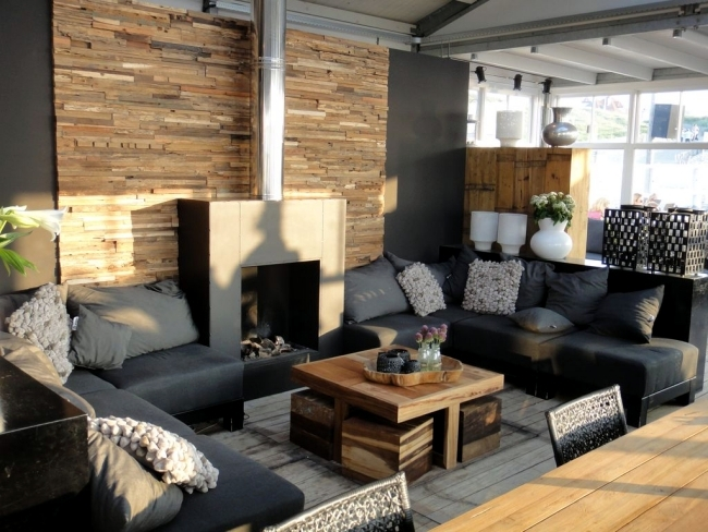 Rustic wall cladding wood panels of wonderwall studios - Rustic wall covering ideas ...