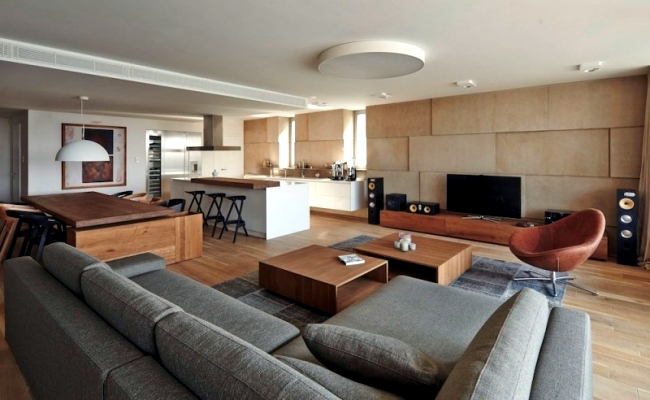 Modern Apartment Inside. modern city apartment Shades of brown and gray characterize a in