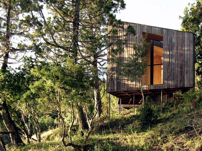 Simple design wooden sauna with breathtaking sea view