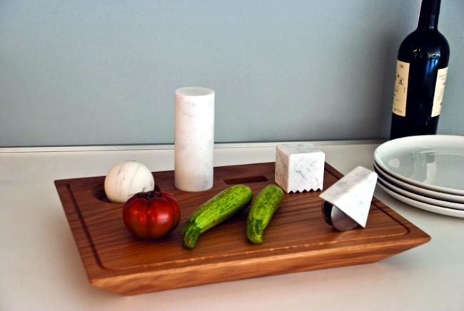 Simple designer kitchen utensils set made of marble Studio Lievito