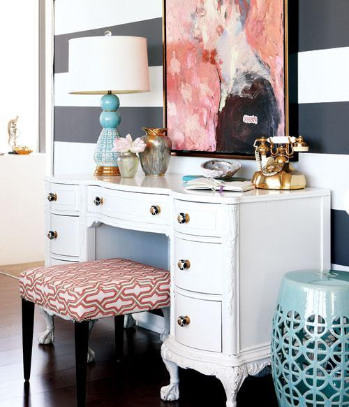 Small apartment with eclectic furnishings - bold patterns and colors