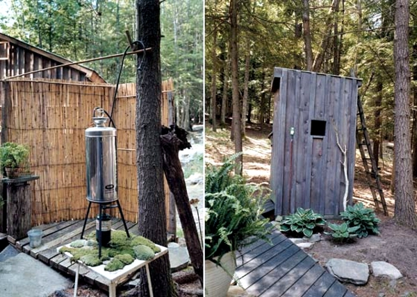 Small hut in the forest enchanted with rustic furnishings