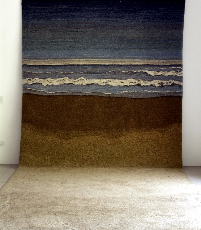Speckled wool carpets in playful look by Alexandra Kehayoglou