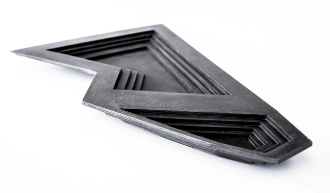 Square tableware made of concrete with an exclusive design of Vido Nori