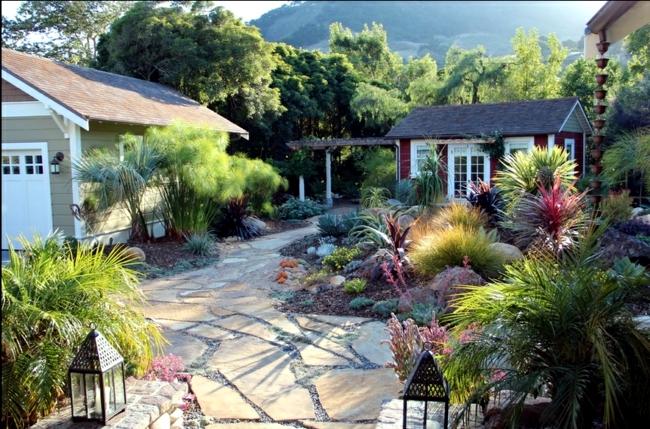 Natural stone garden path