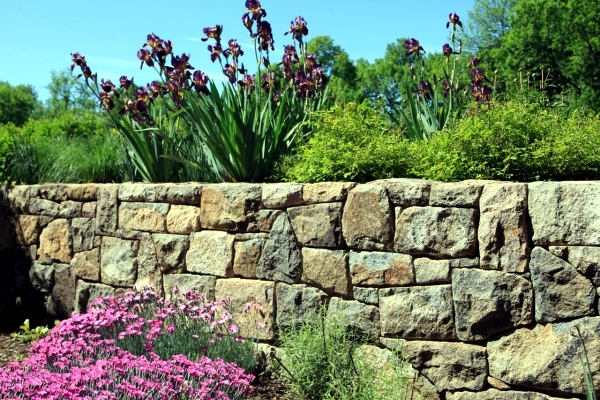 Stone Wall In The Garden Slope Stabilization Which