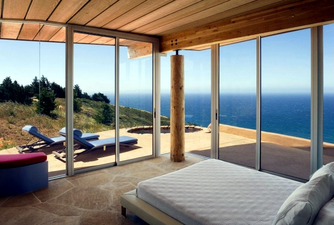 Stone, wood and glass characterize a modern home in California
