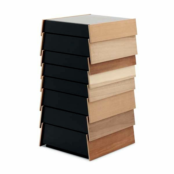 Successive hospitable apelte drawers form a colorful designer chest of drawers