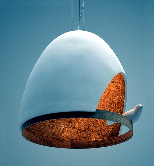 Suspension lamp made of wood makes the shape of a bird house after