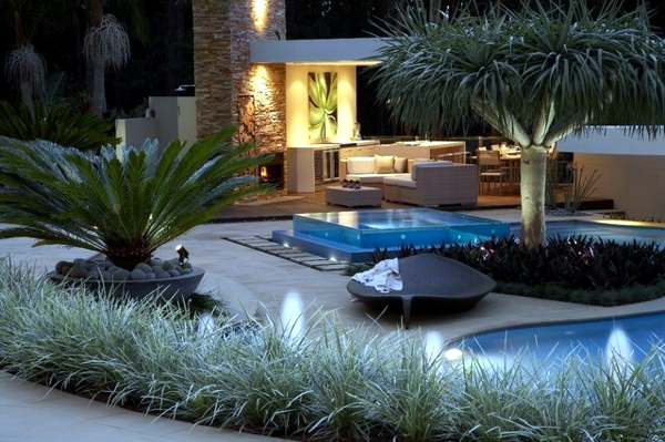 Swimming pool with glass wall creates a relaxed atmosphere in the