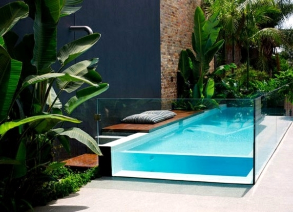 Swimming pool with glass wall creates a relaxed atmosphere in the garden