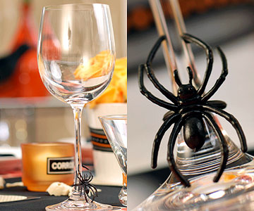 Table decoration for Halloween Party - Creepy ideas in black and orange