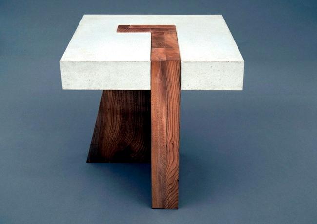 Tisch Aus Holz Und Beton Offenbart Neue Moglichkeiten Fur Mobeldesign