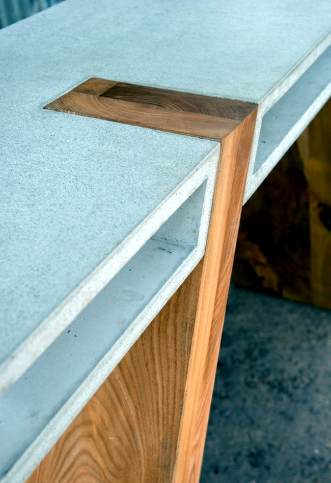 Table made of wood and concrete reveals new trends in furniture design