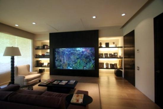 The aquarium set up as a decorative element in home interior