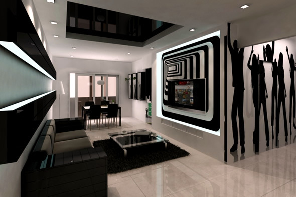 The best ideas for black and white living room