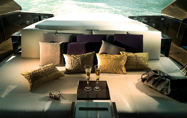 The luxury yacht by Art of Kinetik - wood tones in the interior