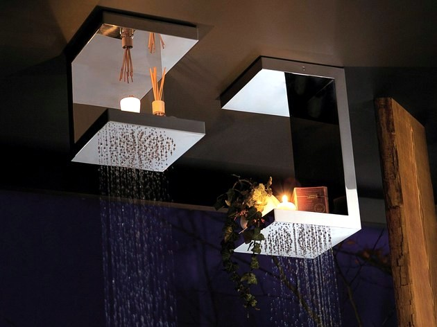 The square stainless steel designer shower head with built-in shelves