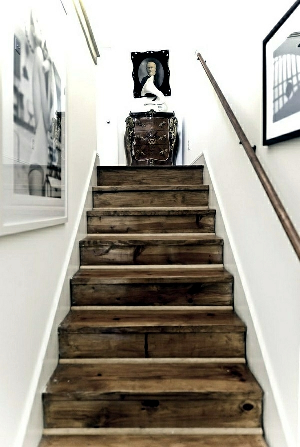 The staircase decorating ideas with paint leftover wallpaper and wall stickers