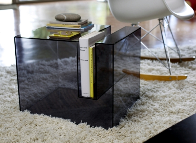 "The transparent acrylic side table by Eric Pfeiffer - ""Slot Table"""