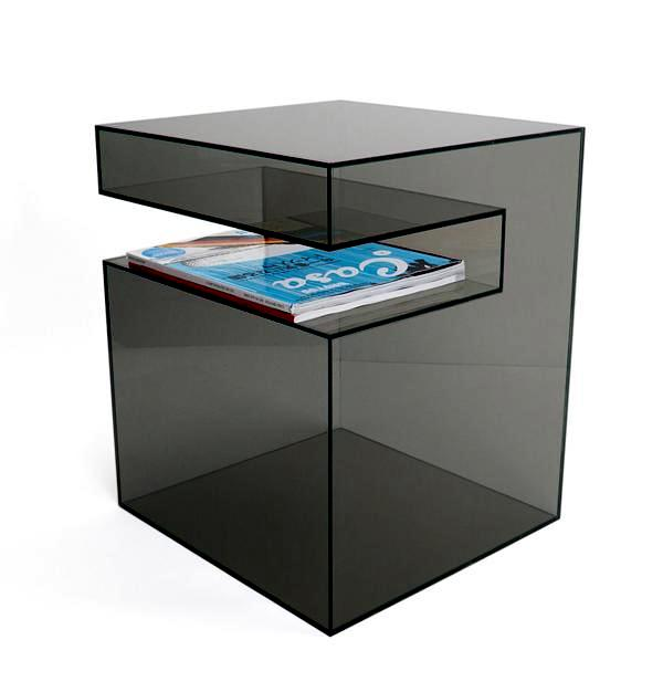 """The transparent acrylic side table by Eric Pfeiffer - """"Slot Table"""""""