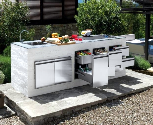 trendy outdoor kitchen set up in the garden ideas for