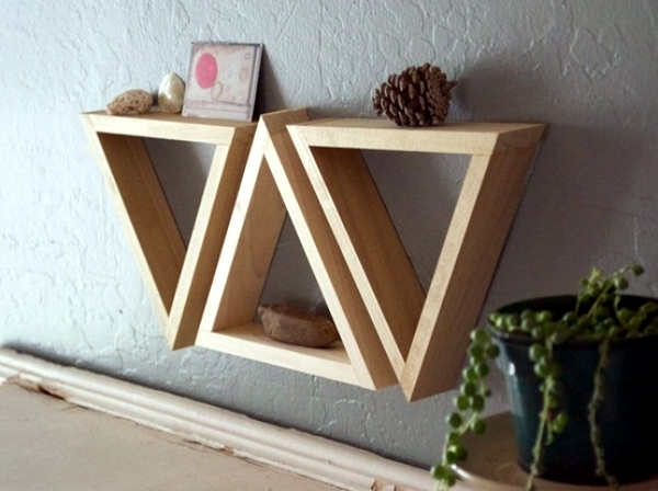triangle shelf build itself practical wall decoration. Black Bedroom Furniture Sets. Home Design Ideas