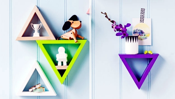 Triangle shelf build itself - practical wall decoration that offers storage space