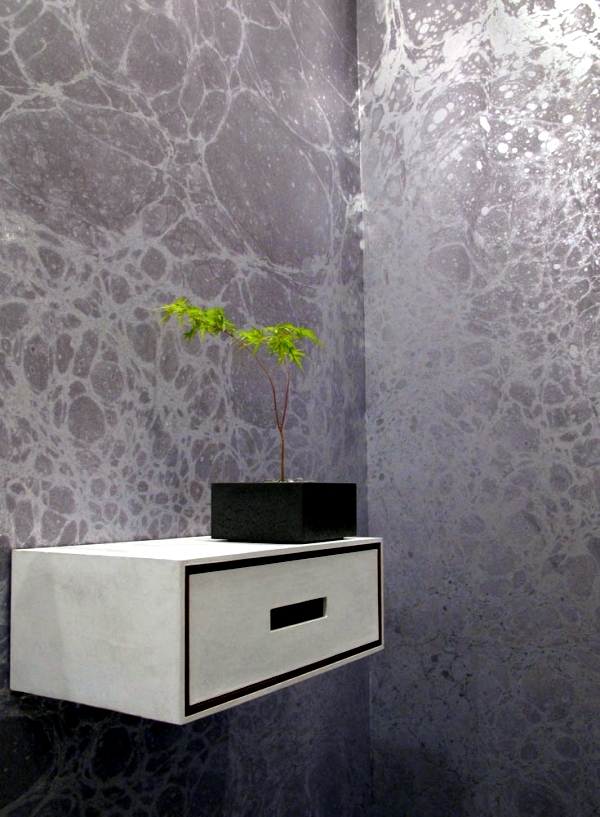 Two creative ideas for wallpaper designs with marble pattern of Calico