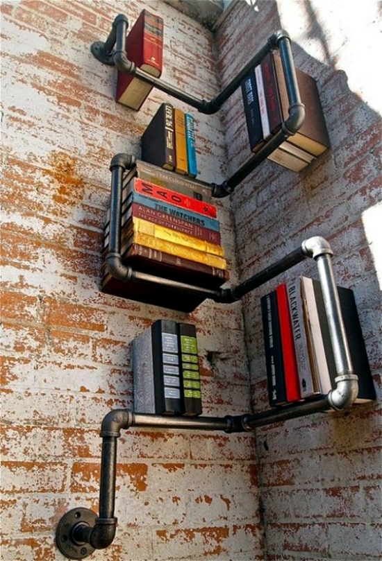 Unconventional Bookcase Designs serve as an accent in the interior
