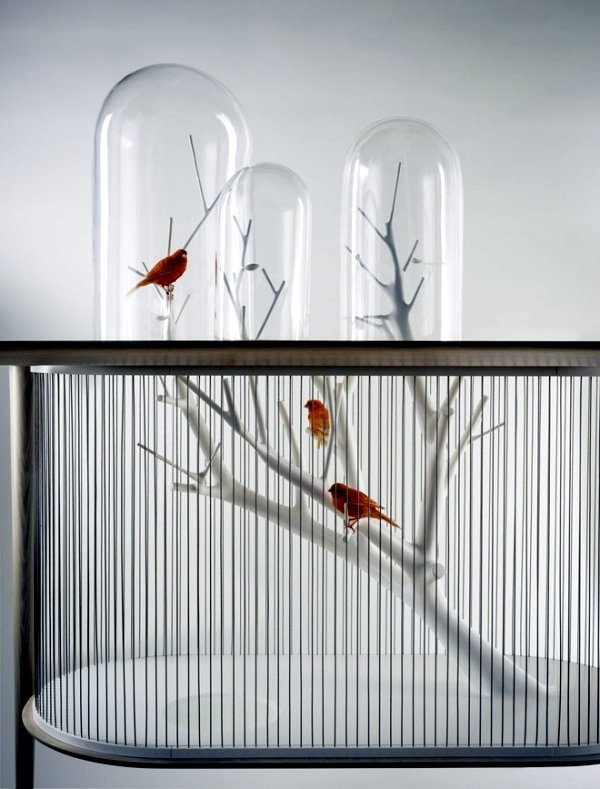 Unique Design Wooden Table With Built in Bird Cage
