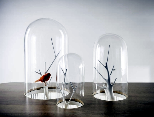 Unique design wooden table with built-in bird cage