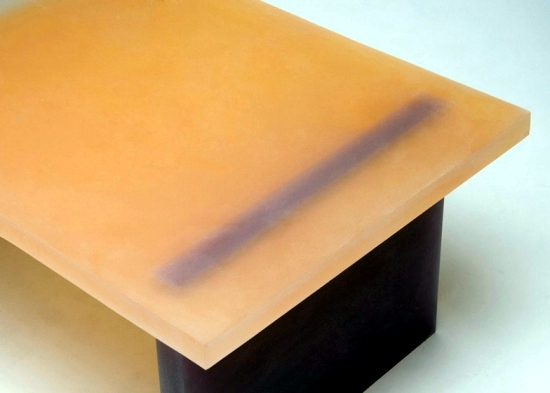 Unique furniture design in colored resin in a minimalist style