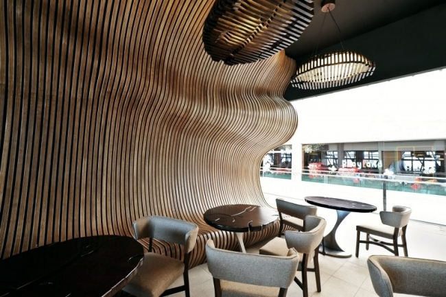 Innarch Received The Coffee Bar A Modern Look That Is Easy To Distinguish The Interior Design Is A Playful Installation That Was Built From 1365 Pieces Of