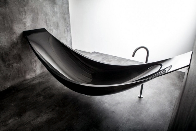 "Unusual bathroom furniture design - the hanging bath ""Vessel"""