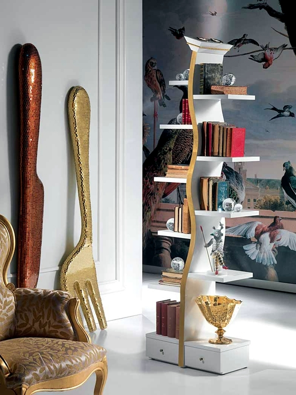 Unusual Bookcase Design Of Carpanelli As Flat Highlight