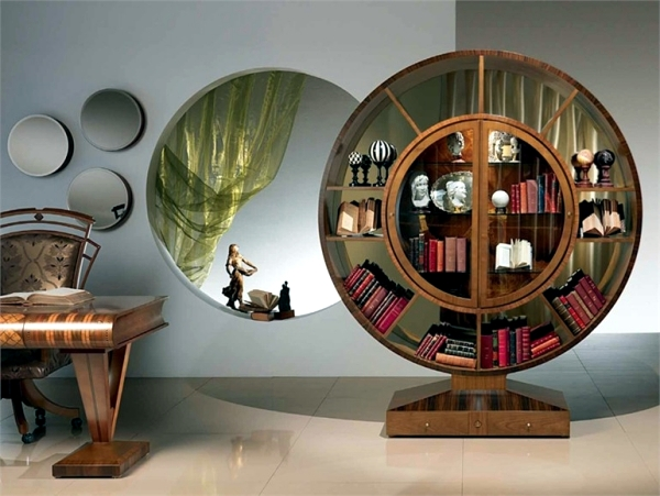 Unusual bookcase design of Carpanelli as flat-highlight