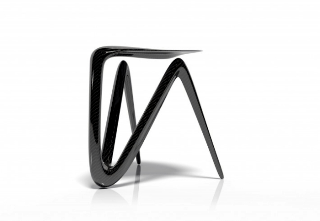 Unusual chair design made of carbon fibers by Alvaro Uribe