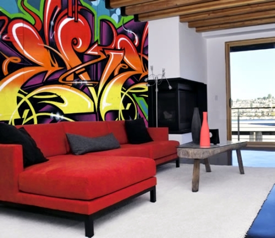 Use graffiti as a wall decoration - invite street art at home