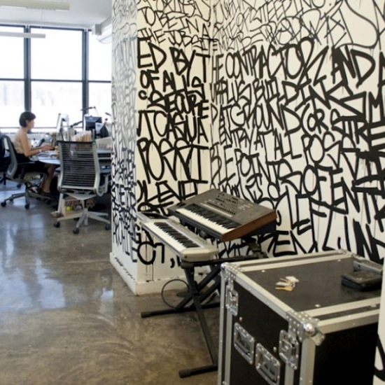 office graffiti wall. use graffiti as a wall decoration invite street art at home office