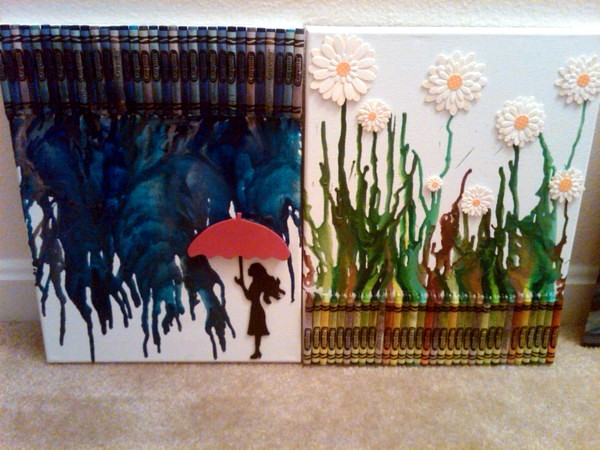 Wall decoration crafts - painting murals with melted pastels