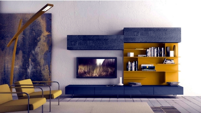 Wall shelf designs by presotto for the modern living room - Shelves design for living room ...