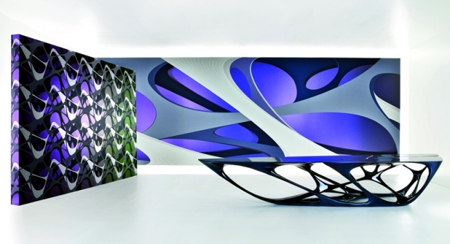 Wallpaper designs by Zaha Hadid for Marburg stand for more dynamic