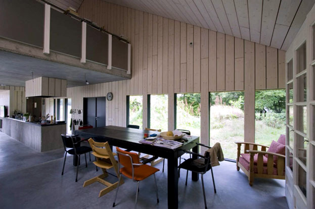 wood and concrete house